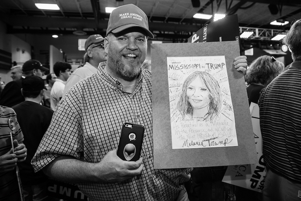 Daniel Magee at a Trump rally in Madison Mississippi. He had with him a drawing of Trumps wife that he was able to give him as a gift.