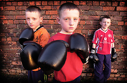 Junior Triplet boxers Barry, Mark and Scott Prior to their first fight.