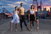 Ballerinas and dancers on Coney Island Boardwalk, Brooklyn, New York. Dance as Art featuring Anna Polyachenko, Julian Watson and Sabrina Imamura