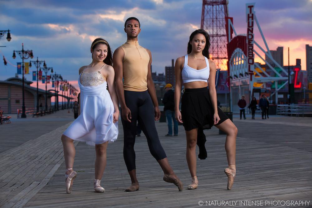 Ballerinas and dancers on Coney Island Boardwalk, Brooklyn, New York. Dance as Art featuring Anna Polyachenko, Julian Watson and Sabrina Imamura