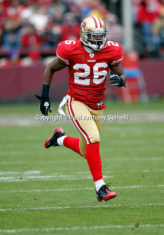 San Francisco 49ers cornerback Tramaine Brock (26) runs downfield on special teams during the NFL week 17 football game against the Arizona Cardinals on Sunday, January 2, 2011 in San Francisco, California. The 49ers won the game 38-7. (©Paul Anthony Spinelli)
