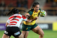 SYDNEY, AUSTRALIA - JULY 19: Ariana Hira-Herangi (12) of the Wallaroos gets past Maiko Fujimoto (2) of Japan during the second rugby test match between the Australian Wallaroos and Japan on July 19, 2019 at North Sydney Oval in Sydney, Australia. (Photo by Speed Media/Icon Sportswire)