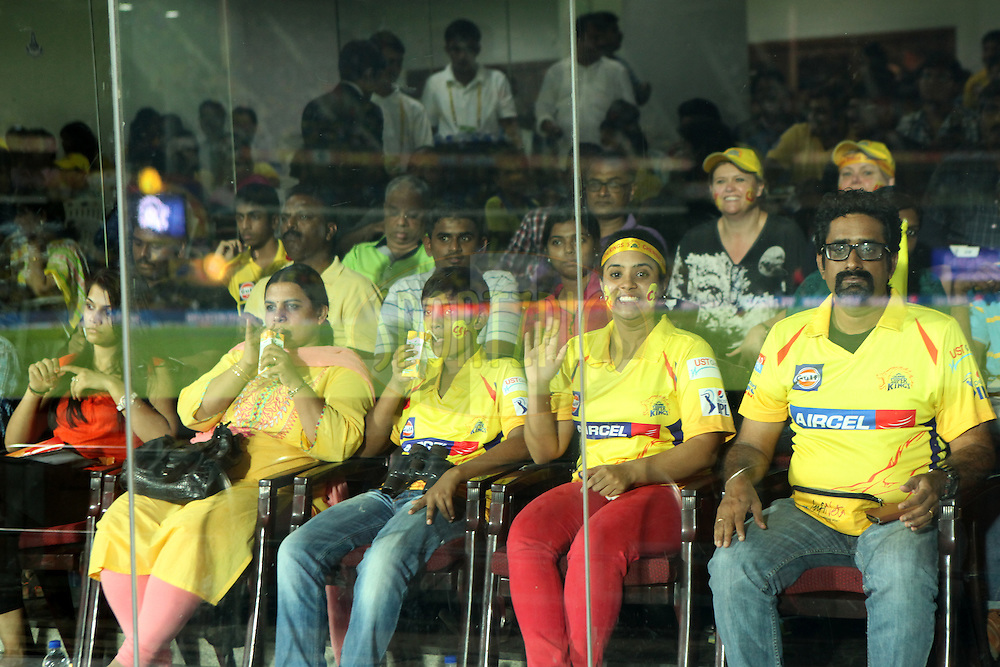 Fans at presidential box during match 47 of the Pepsi IPL 2015 (Indian Premier League) between The Chennai Superkings and The Rajasthan Royals held at the M. A. Chidambaram Stadium, Chennai Stadium in Chennai, India on the 10th May 2015.<br /> <br /> Photo by:  Saikat Das / SPORTZPICS / IPL