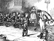 Oliver Twist causing a sensation in the children's ward of the workhouse by asking for a second helping of porridge. In the background his starving companions polish their bowls and spoons in their hunger. Illustration by J Mahoney (active 1856-1876) for Household Edition of Charles Dickens 'The Adventures of Oliver Twist', London, 1871. Engraving.