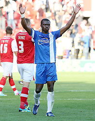 Peterborough United's Gabriel Zakuani celebrates - Photo mandatory by-line: Joe Dent/JMP - Tel: Mobile: 07966 386802 28/09/2013 - SPORT - FOOTBALL - New York Stadium - Rotherham - Rotherham United V Peterborough United - Sky Bet One