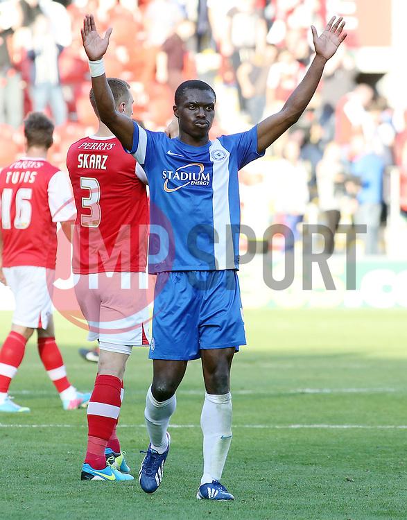 Peterborough United's Gabriel Zakuani celebrates - Photo mandatory by-line: Joe Dent/JMP - Tel: Mobile: 07966 386802 28/09/2013 - SPORT - FOOTBALL - New York Stadium - Rotherham - Rotherham United V Peterborough United - Sky Bet One