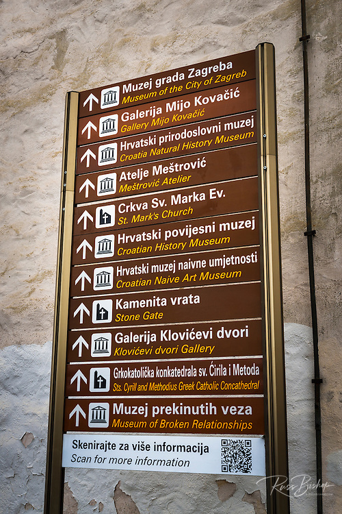 Historic landmark sign in old town Gradec, Zagreb, Croatia