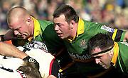 02/03/2003.Sport - 2003 Powergen Cup Semi- final - London Irish v Northampton Saints.Saints front row Robbie Morris left Steve Thompson and Tom Smith..