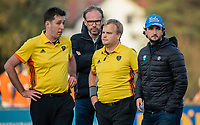 BLOEMENDAAL  -  scheidsrechters Stan van Motman en Alex Been met Jan Piet Nelissen en Ben Howarth. . , competitiewedstrijd junioren  landelijk  Bloemendaal JA1-Nijmegen JA1 (2-2) . COPYRIGHT KOEN SUYK