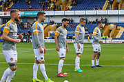 Newport County warming up before the EFL Sky Bet League 2 second leg Play Off match between Mansfield Town and Newport County at the One Call Stadium, Mansfield, England on 12 May 2019.