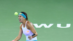 WUHAN, Sept. 24, 2017 Sorana Cirstea of Romania reacts during the singles' first round match against Wang Yafan of China at 2017 WTA Wuhan Open in Wuhan, capital of central China's Hubei Province, on Sept. 24, 2017. Sorana Cirstea won 2-0.  wll) (Credit Image: © Ou Dongqu/Xinhua via ZUMA Wire)