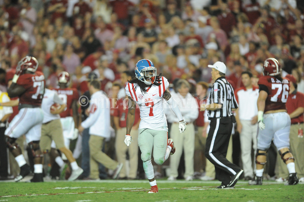 Ole Miss defensive back Trae Elston celebrates following his interception in the first half against Alabama at Bryant-Denny Stadium in Tuscaloosa, Ala. on Saturday, September 19, 2015.