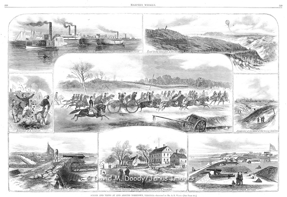 Civil War: Virginia Scenes around Yorktown, Virginia Area, 1862 Peninsula campaign Observation Balloon Harper's Weekly, May 24, 1862 York River, Nelson House used as a hospital