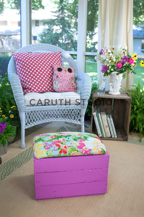 DIY Crate footstool and vintage crate side table in three-season porch