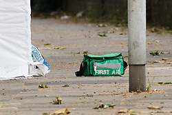 © Licensed to London News Pictures. 17/06/2019. London, UK.  A first aid box seen on the ground within the crime scene next to the forensic tent in Whalebone Lane, where police were called by London Ambulance Service at approximately 00:40hrs today, Monday, 17th June to reports of an unresponsive man found collapsed with stab injuries in Whalebone Lane, near to West Ham Lane in Stratford, E15. The man, believed aged in his 40s, was pronounced dead at the scene at 01:01hrs.  Photo credit: Vickie Flores/LNP