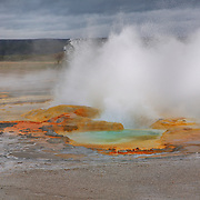 Geyser Pool And Storm Clouds - Yellowstone National Park
