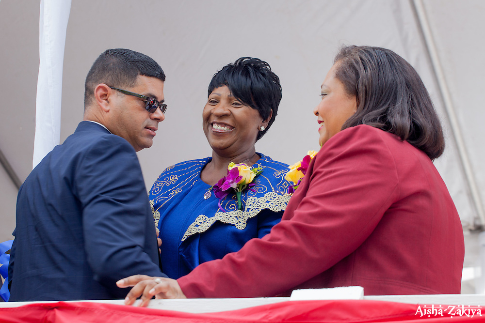 "(L-R) Senators Sammuel Sanes, Alicia ""Chucky"" Hansen, and Janette Millin Young congratulate each other after taking the Oath of Office.  St. Thomas Swearing-In Ceremony for the 32nd Legislature of the US Virgin Islands.  Emancipation Garden.  St. Thomas, VI.  9 January 2017.  © Aisha-Zakiya Boyd"