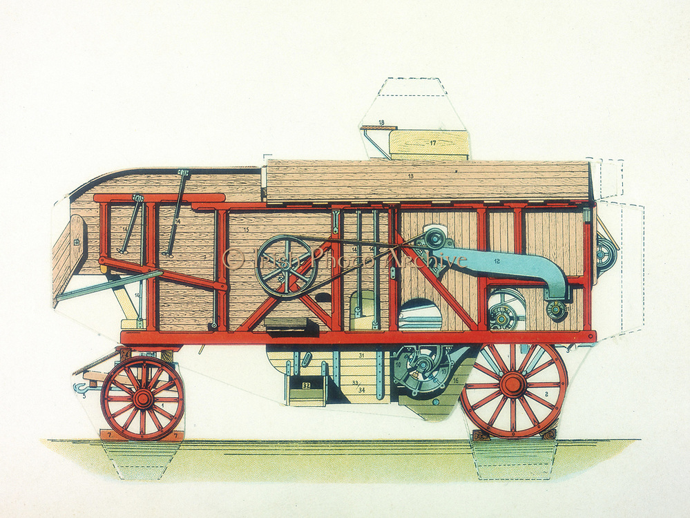 Portable threshing machine. Machines of this type were used in rickyards or fields, and powered by a portable steam engine. From 'Grande Encyclopedie Practique de Mecanique et d'Electricite' by H Desarces. (Paris, c1910).