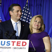 Republican Presidential candidate Ted Cruz and his wife Heidi, right, celebrate his victory in the Wisconsin primary Tuesday April 5, 2016. <br /> Photography by Jose More