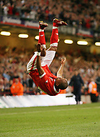 Photo: Rich Eaton.<br /> <br /> Wales v Cyprus. UEFA European Championships 2008 Qualifying. 11/10/2006. Robert Earnshaw of Wales celebrates after scoring the second goal of the game for Wales