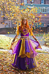 Pictured: Zoe Hutber wearing an outfit designed by Megan Laurie Henry.<br /> <br /> Outfits adorned with bells, lights and mirrors are among the designs by University of Edinburgh students which are to feature at events marking the Indian festival of Diwali this weekend<br /> (c) Ger Harley | Edinburgh Elite media