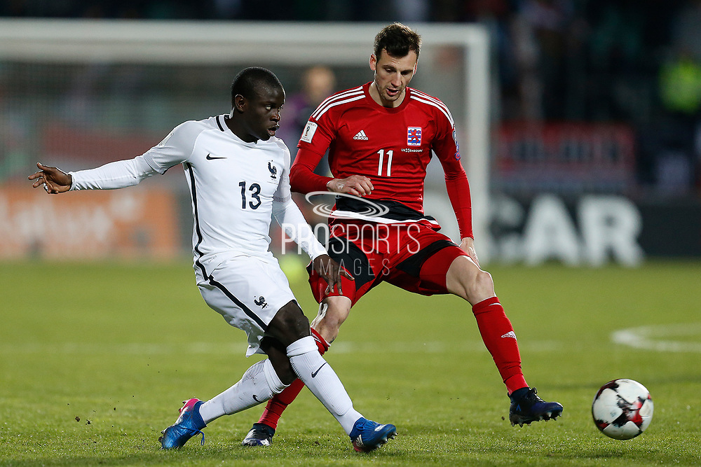 France's midfielder N?Golo Kante vies with Luxembourg's forward Stefano Bensi during the FIFA World Cup 2018 qualifying football match, Group A, between Luxembourg and France on March 25, 2017 at Josy Barthel stadium in Luxembourg - Photo Benjamin Cremel / ProSportsImages / DPPI