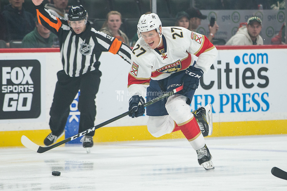 Dec 13, 2016; Saint Paul, MN, USA; Florida Panthers forward Nick Bjugstad (27) carries the puck during the first period against the Minnesota Wild at Xcel Energy Center. Mandatory Credit: Brace Hemmelgarn-USA TODAY Sports