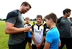 Max Stelling of Worcester Warriors signs autographs as Worcester Warriors host a summer holiday rugby camp at Malvern College - Mandatory by-line: Robbie Stephenson/JMP - 16/08/2017 - RUGBY - Malvern College - Worcester, England - Worcester Warriors - Malvern Rugby Camp