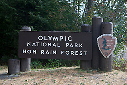 National Park Service welcome sign Olympic National Park, Hoh Rain Forest, Washington, United States of America