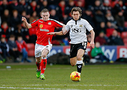 Luke Freeman of Bristol City is challenged by Oliver Turton of Crewe Alexandra - Photo mandatory by-line: Rogan Thomson/JMP - 07966 386802 - 20/12/2014 - SPORT - FOOTBALL - Crewe, England - Alexandra Stadium - Crewe Alexandra v Bristol City - Sky Bet League 1.