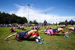 Billy Searle and Bristol Rugby stretch - Rogan/JMP - 05/08/2017 - RUGBY UNION - Cleve RFC - Bristol, England - Bristol Rugby v Harlequins - Pre-Season Friendly.