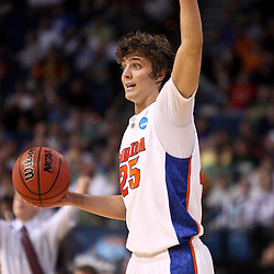 Mar 17, 2011; Tampa, FL, USA; Florida Gators forward Chandler Parsons (25) during first half of the second round of the 2011 NCAA men's basketball tournament against the UC Santa Barbara Gauchos at the St. Pete Times Forum.  Mandatory Credit: Derick E. Hingle