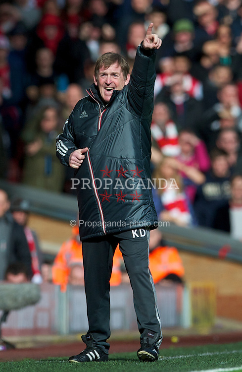 LIVERPOOL, ENGLAND - Saturday, March 3, 2012: Liverpool's manager Kenny Dalglish during the Premiership match against Arsenal at Anfield. (Pic by David Rawcliffe/Propaganda)