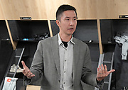 Apr 4, 2018; Los Angeles, CA, USA; Gensler Sports design director Steve Chung speaks at the grand opening of the LAFC Performance Center on the campus of Cal State LA. The 30,000 square foot and $30 million facility will serve as home of the LAFC players, staff, coaches and academy.