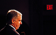 Manchester, New Hampshire, USA, 26.01.2004; An exit sign is glooming in the background as Howard Dean holds a speach at a rally at Palace Theater in Manchester.<br /> <br /> Photo; Orjan F. Ellingvag/ Dagbladet/ Getty *** Local Caption *** edited, moved to edited 20060218