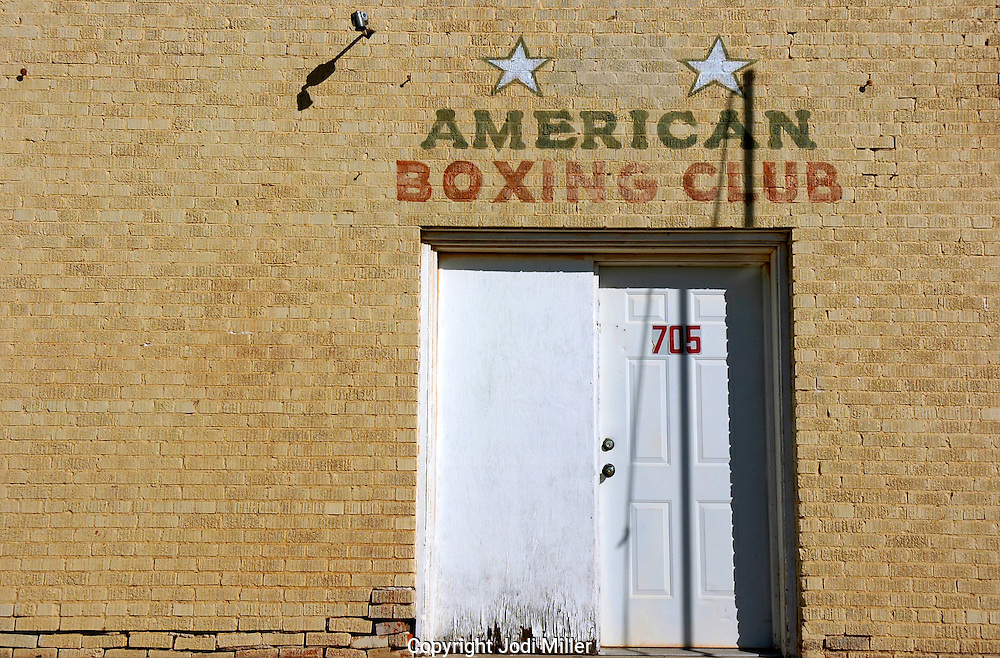 The front doors of the American Boxing Club in Lubbock, TX.