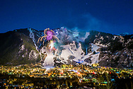 Fireworks over Aspen Mountain during the 2014 Aspen Winternational Audi FIS Ski World Cup in Aspen, Colorado.