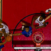 03 February 2018: The San Diego State Aztecs look to rebound after a couple losses against Air Force Saturday night. San Diego State Aztecs forward Malik Pope (21) battles Air Force Falcons forward Lavelle Scottie (12) and  guard Trevor Lyons (20) for a rebound in the first half. The Aztecs beat the Falcons 81-50 at Viejas Arena.<br /> More game action at www.sdsuaztecphotos.com