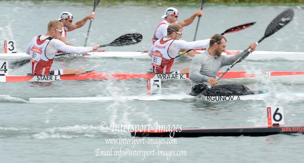 Eton Dorney, Windsor, Great Britain,..Start Of the Men's Kayak Double [K2].No.4, DEN Kim WRAAE and Emil STAER, No. 5, KAZ Yevganiy ALEXEYEV and Alexey DERGUNOV...2012 London Olympic Canoe and Kayak Sprints Races. Regatta, Dorney Lake. Eton Dorney, Dorney Lakes. Berkshire.  Dorney Lake.  ... ..10:16:18  Wednesday  08/08/2012 [Mandatory Credit: Peter Spurrier/Intersport Images]