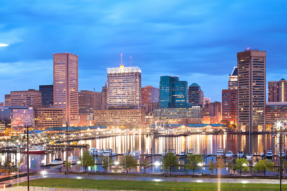Downtown city skyline and Inner Harbor, Baltimore, Maryland, USA