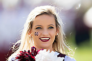 STARKVILLE, MS - NOVEMBER 17:  Cheerleader of the Mississippi State Bulldogs performs before of a game against the Arkansas Razorbacks at Davis Wade Stadium on November 17, 2018 in Starkville, Mississippi.  The Bulldogs defeated the Razorbacks 52-6.  (Photo by Wesley Hitt/Getty Images) *** Local Caption ***