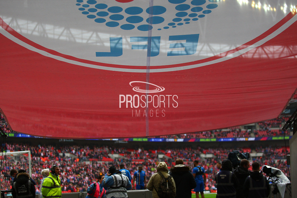 EFL Flag during the EFL Trophy Final match between Lincoln City and Shrewsbury Town at Wembley Stadium, London, England on 8 April 2018. Picture by John Potts.