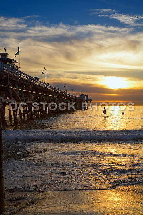 Paddle Boarding at the Pier in San Clemente at Sunset