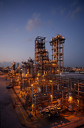 Stock photo of a chemical plant at dusk