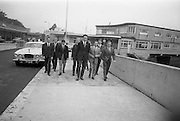 14/07/1967<br /> 07/14/1967<br /> 14 July/1967<br /> Members of the Highgate International Diving Club, London arrive in Dun Laoghaire for the PAK Diving Gala at the Blackrock Baths. Team pictured with Dano O'Brien, Eddie Heron and Billy Morrison of Sandycove Diving Club. Team includes Alan Roberts; Rene Rasch; Robin Baskerville and Terry Erard.<br />  Jaguar 420G car