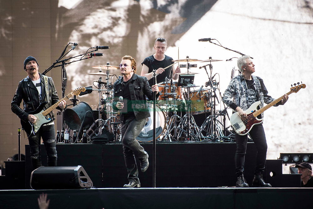 The Edge, Bono, Larry Mullen Jr and Adam Clayton of U2 perform Joshua Tree live on stage at Twickenham Stadium, Twickenham, London. Photo date: Saturday 8th July 2017. Picture credit should read: © DavidJensen/Empics Entertainment