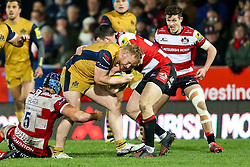 Will Hurrell of Bristol Rugby is tackled - Rogan Thomson/JMP - 03/12/2016 - RUGBY UNION - Kingsholm Stadium - Gloucester, England - Gloucester Rugby v Bristol Rugby - Aviva Premiership.
