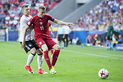 June 18, 2017 - Tychy, Poland - Jakub Jantko of Czech fights for the ball with Mitchell Weiser of Germany during the UEFA European Under-21 Championship 2017 Group C match between Germany and Czech Republic at Tychy Stadium in Tychy, Poland on June 18, 2017  (Credit Image: © Andrew Surma/NurPhoto via ZUMA Press)