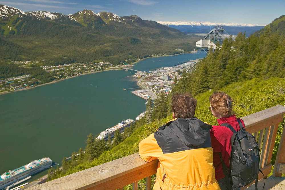 USA, Alaska, Inside Passage, Juneau and  Gastineau Channel seen from Mt Roberts (model released)