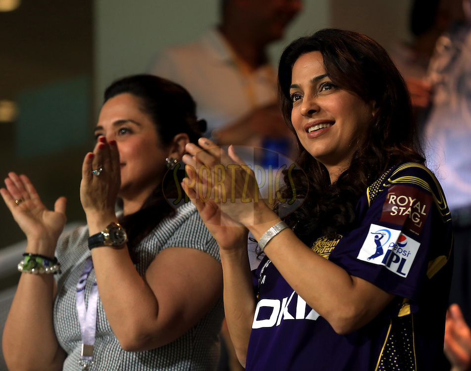 Juhi Chawala Co- owner of Kolkatta Knight Riders during match 15 of the Pepsi Indian Premier League 2014 Season between The Kings XI Punjab and the Kolkata Knight Riders held at the Sheikh Zayed Stadium, Abu Dhabi, United Arab Emirates on the 26th April 2014<br /> <br /> Photo by Sandeep Shetty / IPL / SPORTZPICS